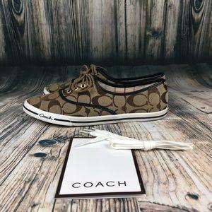 Coach Logo Casual Canvas Boat Shoes Lace Up SZ 6.5